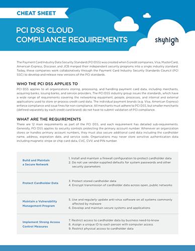 PCI Compliance Cheat Sheet