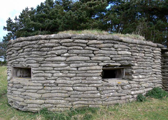 A Pair of Concrete sandbag Pillboxes at Dunstanburgh, NU 24743 21265