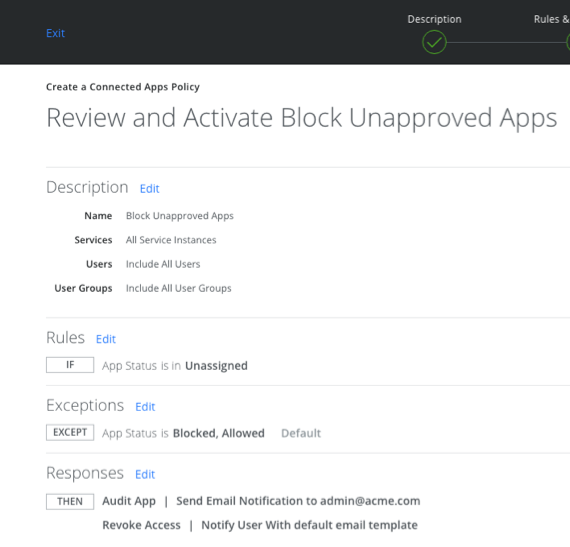 MVISION Cloud Connected Apps audit policy