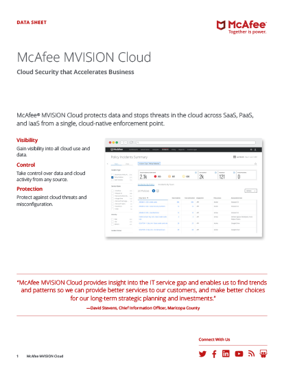 Cloud Access Security Broker (CASB) - McAfee MVISION Cloud